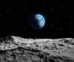 A view of the planet Earth from the Moons rocky surface